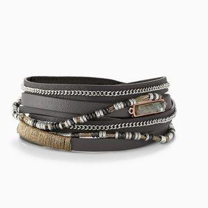 Stella & Dot Yves Wrap Bracelet - Grey